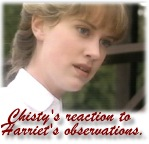 Christy reacts to what Harriet tells her!